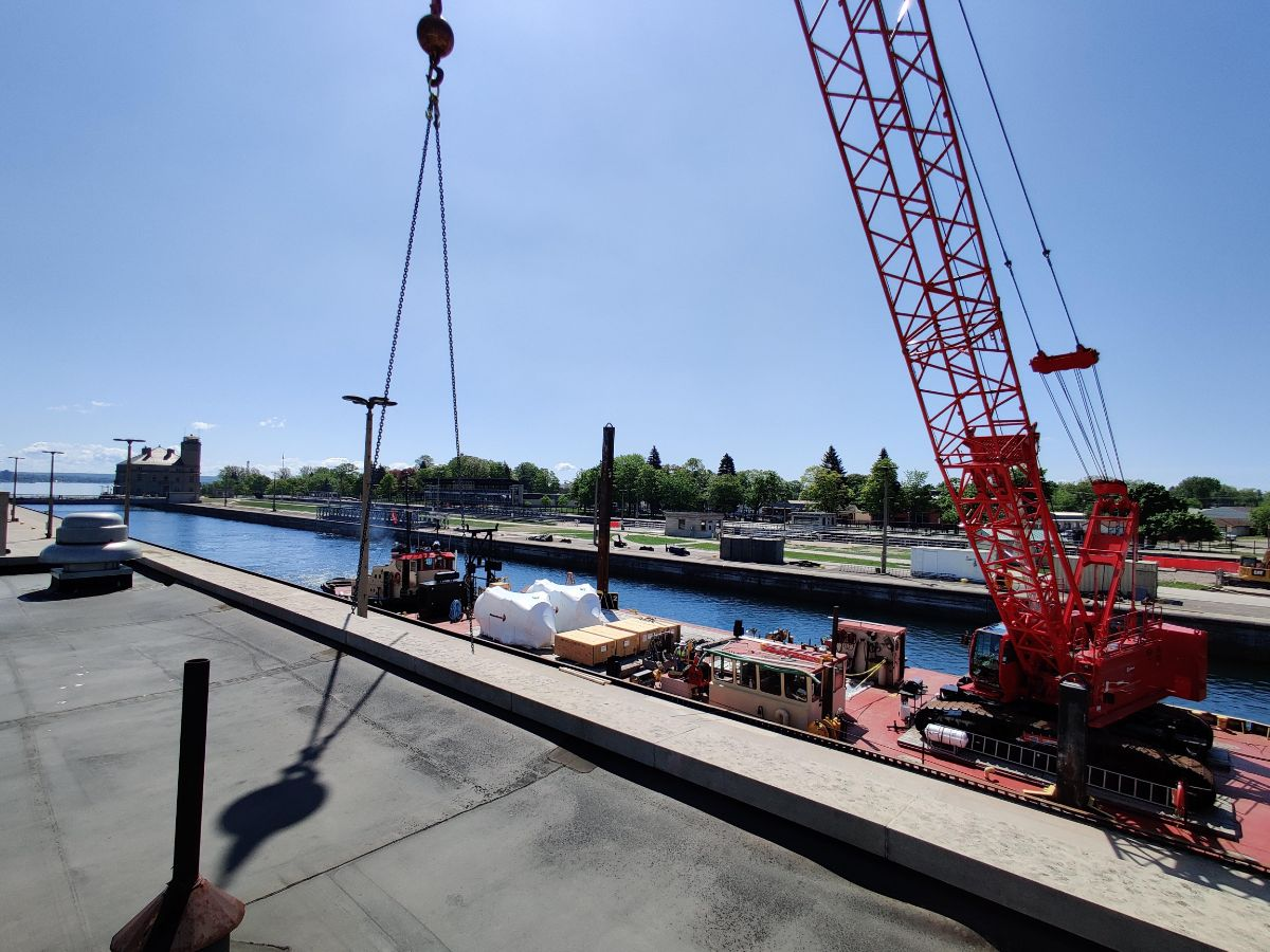 Loading boiler onto barge
